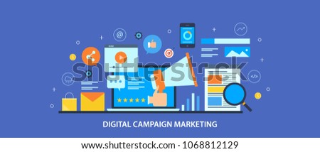 Digital marketing campaign, SEO and Social media strategy, Network marketing flat vector illustration with icons #1068812129