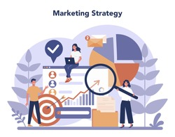 Digital marketing concept. Business promotion, customer communication and product advertising through social networks. SEO, SEM. Flat vector illustration