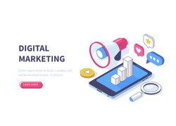 Digital marketing concept. Can use for web banner, infographics, hero images. Flat isometric vector illustration isolated on white background.