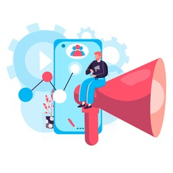 Digital marketing concept. Marketer making an advertising campaign, promotes in social networks, attracts new customers character scene. Vector illustration in flat design with people activities