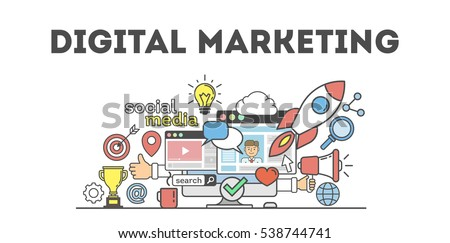 Digital marketing concept poster. Digital design. Social network and media communication.