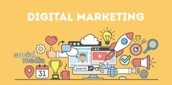 Digital marketing concept poster. Digital design. Social network and media communication. Creative icons.