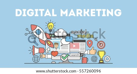 Digital marketing concept poster. Digital design. Social network and media communication. Creative icons.