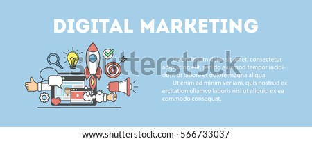 Digital marketing concept poster. Digital design. Social network and media communication. White background.