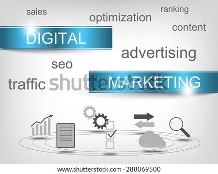 Digital marketing concept with symbols
