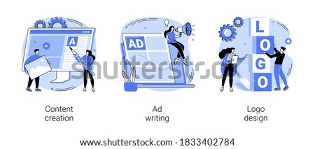 Digital marketing copywriting abstract concept vector illustration set. Content creation, ad writing, logo design, blog post, social media, company website, viral content, client abstract metaphor.