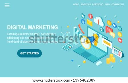 Digital marketing. 3d isometric computer, laptop, pc with money, graph, folder, megaphone, loudspeaker, bullhorn. Business development strategy advertising. Social media analysis Vector design