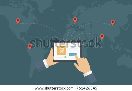 Digital marketing, E-commerce, Online shop. Businessman holding tablet and use it to sell the product