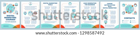 Digital marketing education brochure template layout. Online sales courses. Flyer, booklet, leaflet print design. Business tools. Vector page layouts for magazines, annual reports, advertising posters