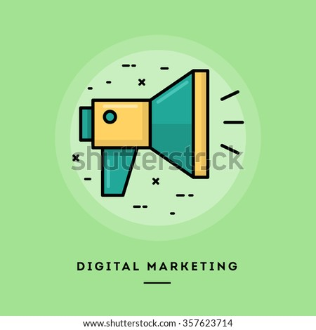 Digital marketing, flat design thin line banner, usage for e-mail newsletters, web banners, headers, blog posts, print and more