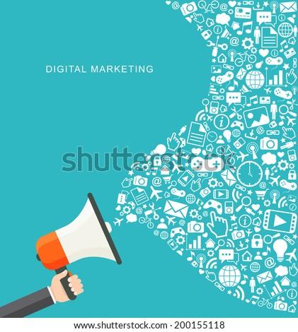 Digital marketing flat illustration. Hand holding megaphone. eps8