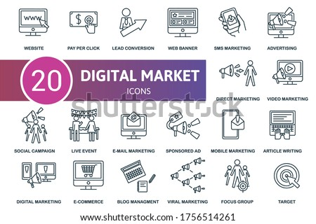 Digital Marketing icon set. Collection contain blog management, e-mail marketing, sms marketing, live event and over icons. Digital Marketing elements set. Foto stock ©