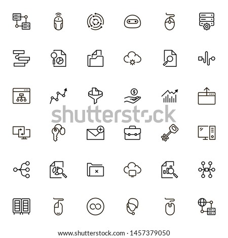 Digital marketing icon set. Collection of high quality black outline logo for web site design and mobile apps. Vector illustration on a white background