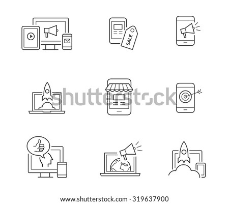 Digital marketing icons for websites, mobile apps, startups