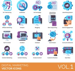 Digital marketing icons including 24-7 monitoring, ad blocker, campaign, advertising submission, system, affiliate, analysis, blogging, bots copywriting, brand engagement, call to action, chatbot.