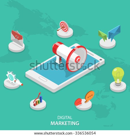 Digital marketing isometric flat vector concept. Megaphone stays on smartphone surrounded marketing icons. E-mail, video, blogging, social campaign, seo, advertising, blogging, communication.