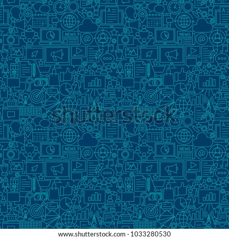 Digital Marketing Line Seamless Pattern. Vector Illustration of Outline Tileable Background.
