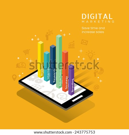 digital marketing media concept with graph on smart phone vector illustration
