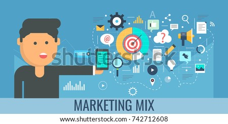 Digital marketing mix, Internet, strategy, social media, business goal flat vector illustration with icons