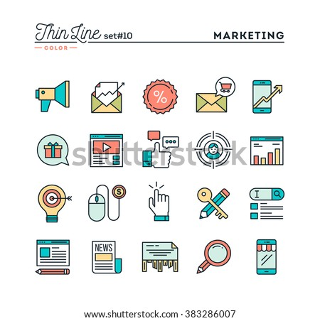 Digital marketing, online business, target audience, pay per click and more, thin line color icons set, vector illustration