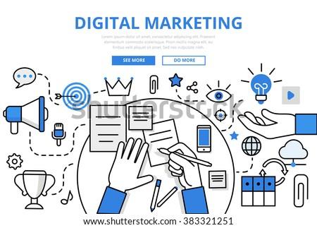 Digital marketing online promotion traffic concept flat line art vector icons. Modern website infographics illustration hero image web banner. Lineart collection.