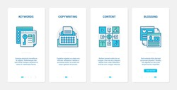 Digital marketing seo methods vector illustration. UX, UI onboarding mobile app page screen set with line keying, copywriting for business blogging content, keyword for commerce blogs technology