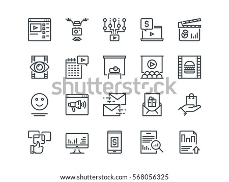 Digital Marketing. Set of outline vector icons. Includes such as Viral video, Food photo, Aerial shooting and other