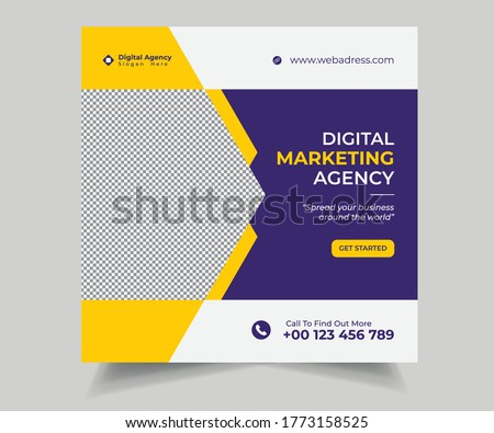 Digital Marketing Social Media Post Template, Digital marketing agency, Square Flyer Template, Editable web Banner Post Template, Digital Business Marketing Social Media Banner, vector