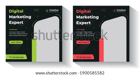 Digital Marketing Social Media Post Template, Digital marketing agency, Square Flyer Template,  Digital Business Marketing Social Media Banner, Vector graphic ad template.