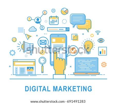 Digital marketing. Social network, media communication, SEO, SEM, promotion. Media planning, online business, purchasing, financial analysis and statistics. Thin line design. Infographics elements.