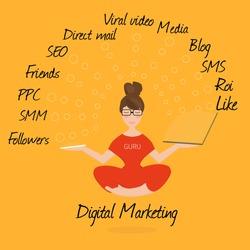 Digital marketing specialist practicing yoga