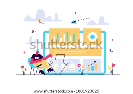 Digital marketing strategist working with digital technologies and media. Attribution modeling, brand insight and measurement tools concept. Bright vibrant violet vector isolated illustration Photo stock ©