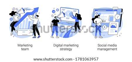 Digital marketing strategy abstract concept vector illustration set. Marketing team, social media management, SMM, brand insight, campaign strategy development, online channels abstract metaphor. Сток-фото ©