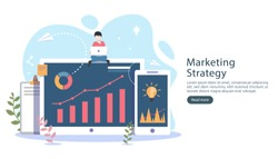 digital marketing strategy concept with tiny people character, table, graphic object on computer screen. online social media marketing modern flat design for landing page and mobile website template