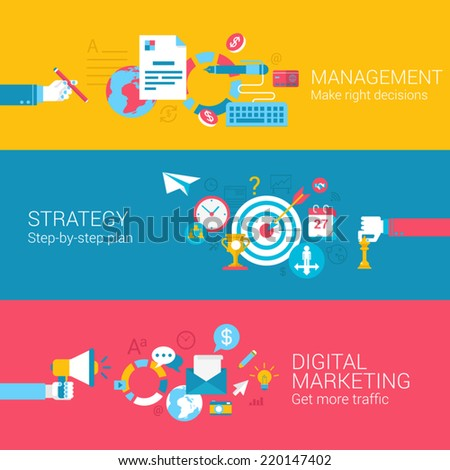 Digital Marketing Strategy Management Concept Flat Icons