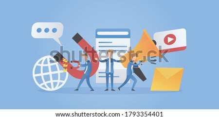 Digital marketing team,Marketing plan leader using magnets and megaphone to advertising customer,Online media,website,video,mail,message.business concept strategy,Vector illustration.