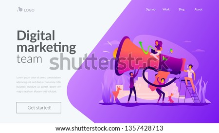 Digital marketing team, marketing team metrics, marketing team lead and responsibilities concept. Website homepage interface UI template. Landing web page with infographic concept hero header image.
