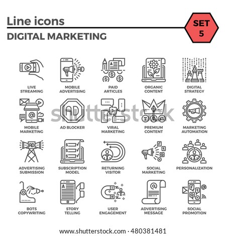 Digital Marketing Thin Line Related Icons Set on White Background. Simple Mono Linear Pictogram Pack Stroke Vector Logo Concept for Web Graphics.