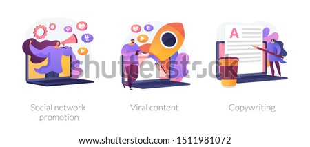 Digital marketing types icons set. SMM, influencer online advertising. Social network promotion, viral content, copywriting metaphors. Vector isolated concept metaphor illustrations.