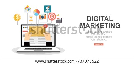 Digital marketing vector concept. Vector flat design illustration.
