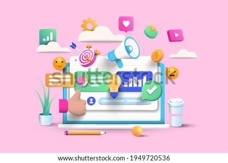 Digital Marketing, web analytics and marketing social media concept. 3d vector illustration