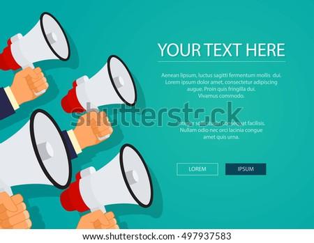 Digital marketing with a megaphones concept flat design