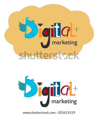Digital marketing word concept. Vector illustration