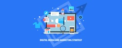 Digital media marketing, business, internet, Strategy and advertising flat vector illustration with icons