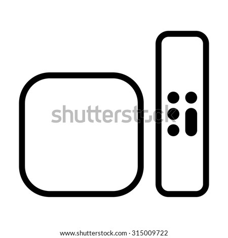 Digital media player setup box with remote line art vector icon for apps and websites