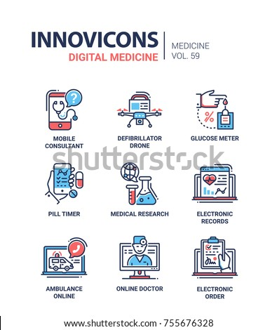 Digital medicine - line design icons set with description. Mobile consultant, defibrillator drone, glucose meter, pill timer, medical research, electronic records, ambulance online, doctor, order