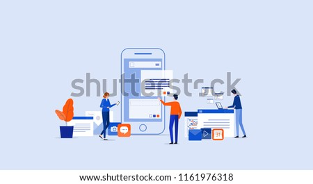 digital mobile application development and design process concept with business team working concept