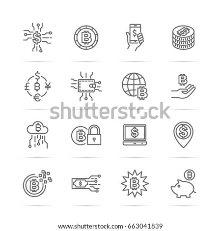 digital money, bitcoin vector line icons, minimal pictogram design, editable stroke for any resolution