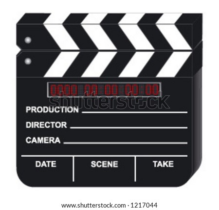 Digital Movie Clapboard on white background