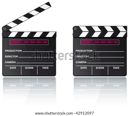 Digital movie clapper board set with reflection on white background